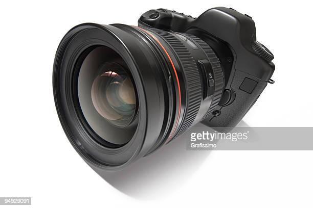 Black digital camera isolated on white