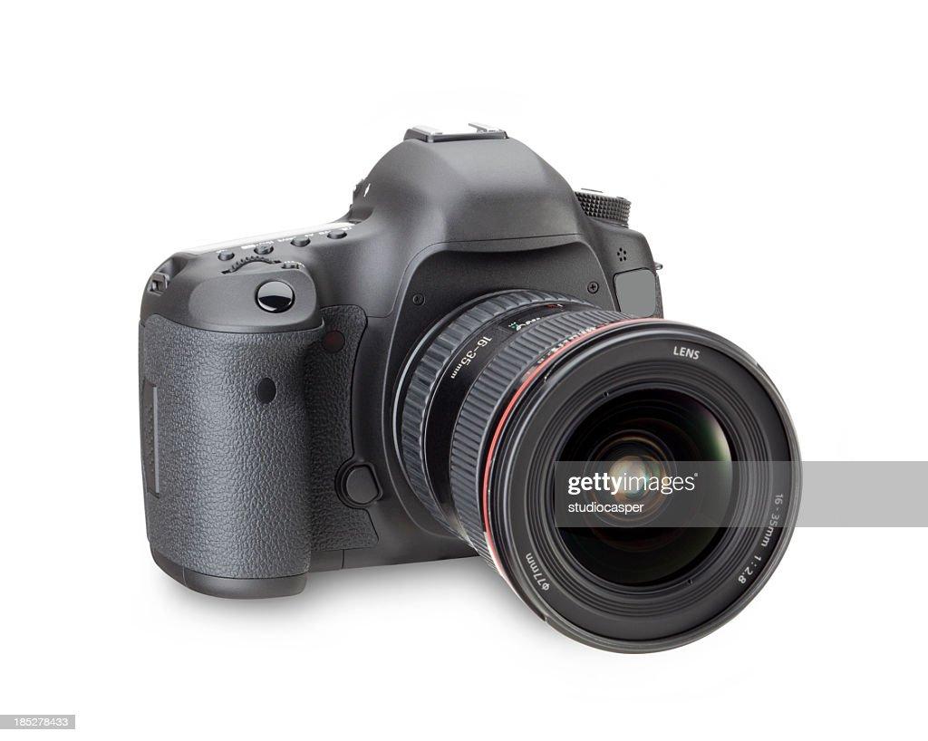Black digital SLR camera in a white background