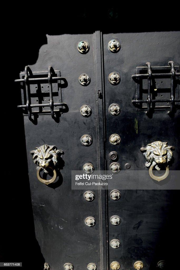 Black door with lion door knocker at Talca city Chile  Stock Photo & Black Door With Lion Door Knocker At Talca City Chile Stock Photo ... pezcame.com