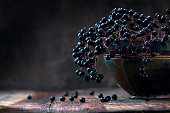 Black elderberries bunch (Sambucus nigra) in an old clay bowl and some berries on a rustic wooden table against a dark background with copy space, low key vintage still life, closeup with selected foc