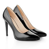 Black elegant high heel shoes for woman, isolated on white, clipping path included