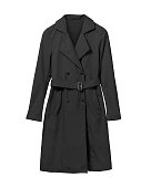 Black elegant woman autumn coat isolated white