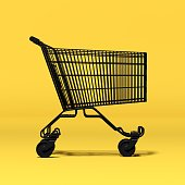black empty shopping cart on yellow background