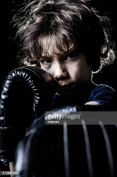 Black eye boxer kid boy