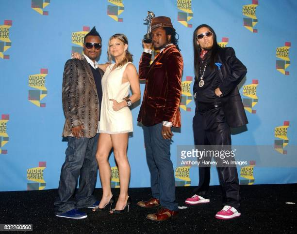 Black Eyed Peas with their award for Best Hip Hop Video at the MTV Video Music Awards at Radio City New York
