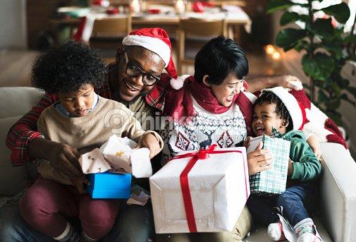 A black family enjoying Christmas holiday : Stock Photo