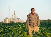 Black farmer standing in crop field