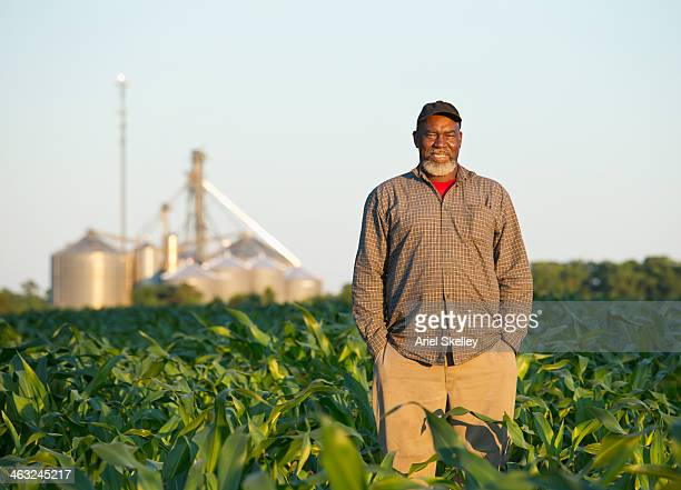 Black farmer standing in crop field