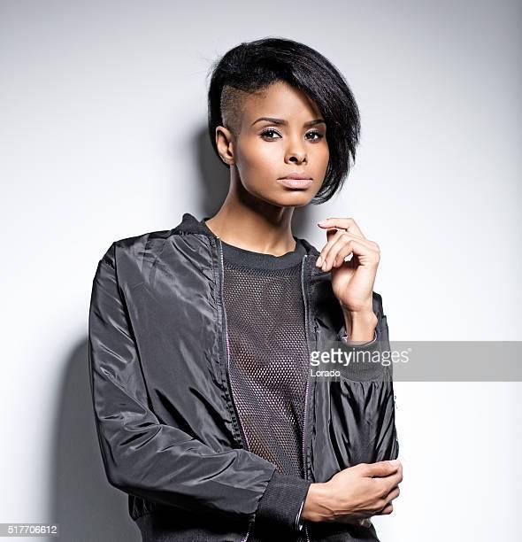 black female fashion model posing