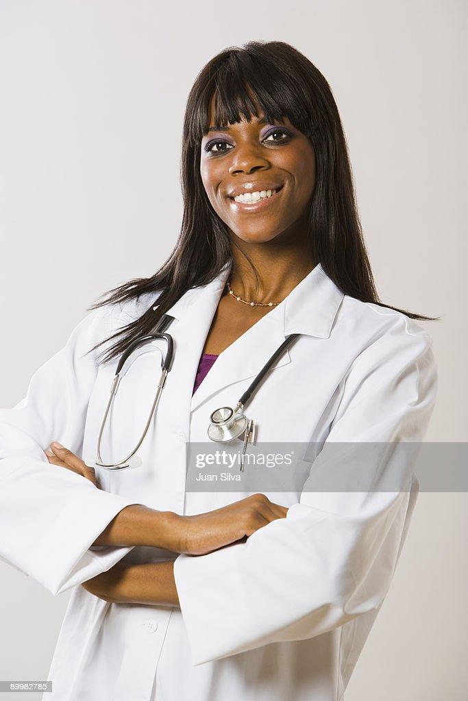 Black Female Medical Doctor Smiling Portrait Stock Photo