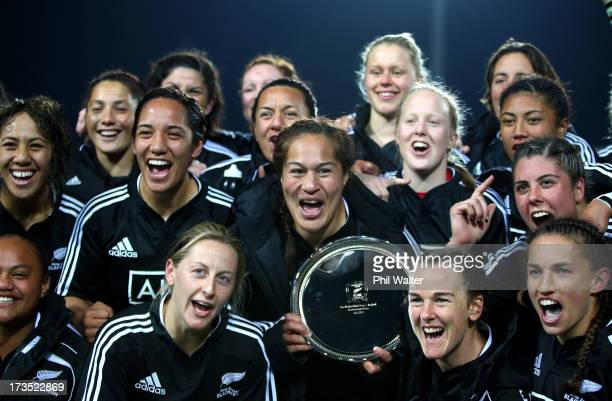 Black Ferns captain Fiao'o Fa'amausili holds the trophy following game two of the international series between the New Zealand Black Ferns and...