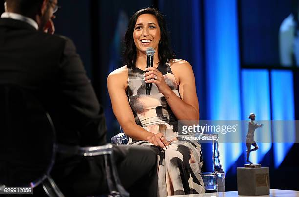 Black Ferns Sevens Player of the Year Sarah Goss speaks at the ASB New Zealand Rugby Awards at SkyCity Convention Centre on December 15 2016 in...