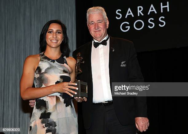 Black Ferns Sevens Player of the Year Sarah Goss with David Rhodes at the ASB New Zealand Rugby Awards at SkyCity Convention Centre on December 15...