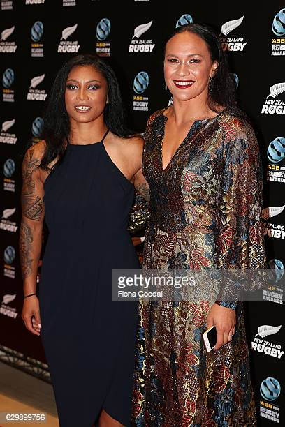 Black Ferns Sevens players Portia Woodman and Renee Wickliffe attend the ASB Rugby Awards at SkyCity Convention Centre on December 15 2016 in...