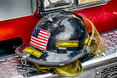 Black Firefighter helmet of the Toledo Fire Department, OH