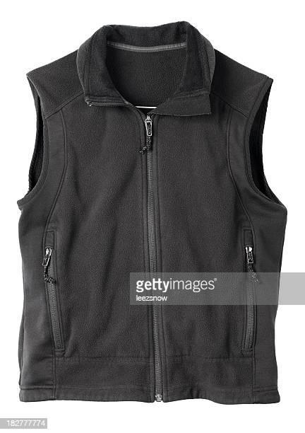 Black fleece hiking vest.