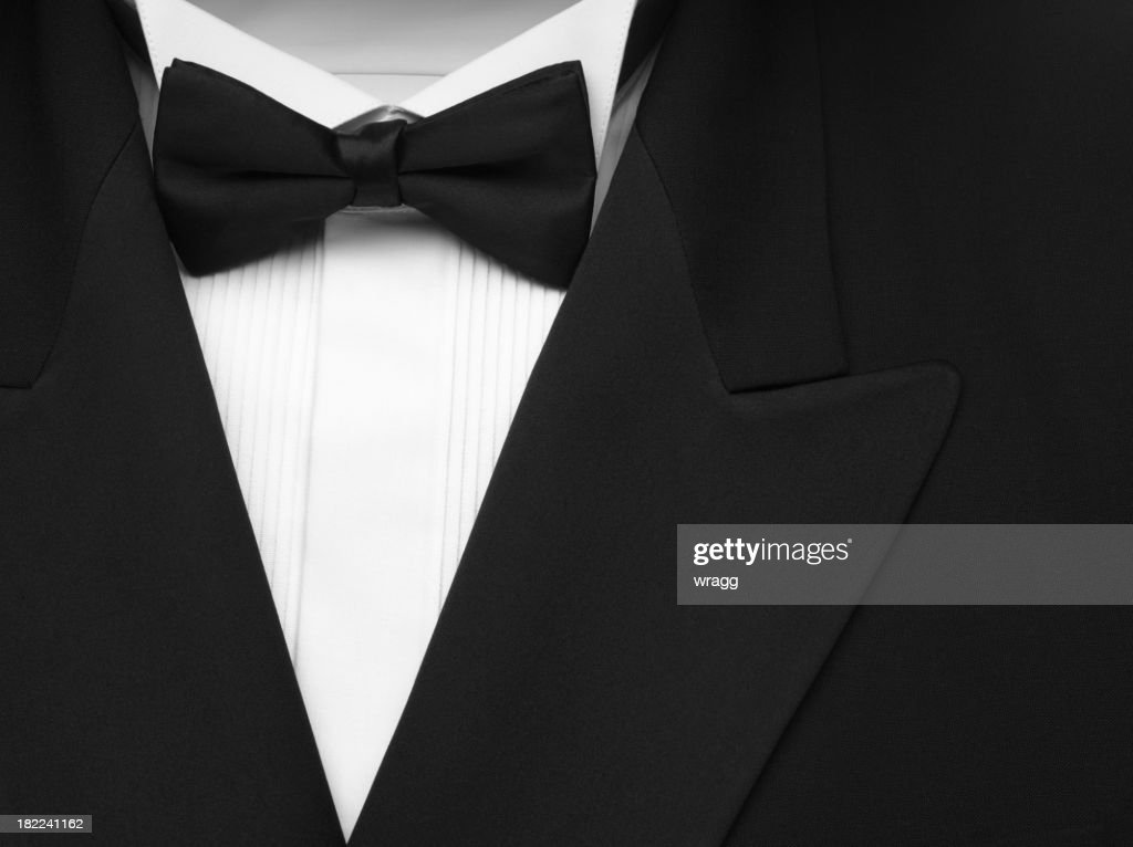 Black Formal Dinner Jacket and Bow Tie : Stock Photo