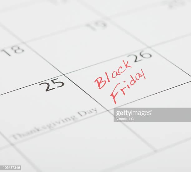 Black Friday message on calendar