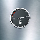 Black fuel gauge indicating a full tank