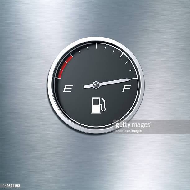 Black fuel gauge indicating a full tank