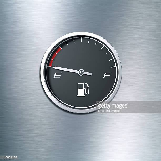 Black fuel gauge indicating an empty tank
