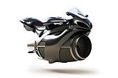 Black futuristic turbine jet bike concept isolated on a white background