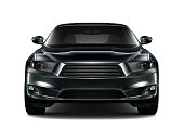 isolated black generic car on white background