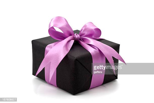 black gift box with pink bow