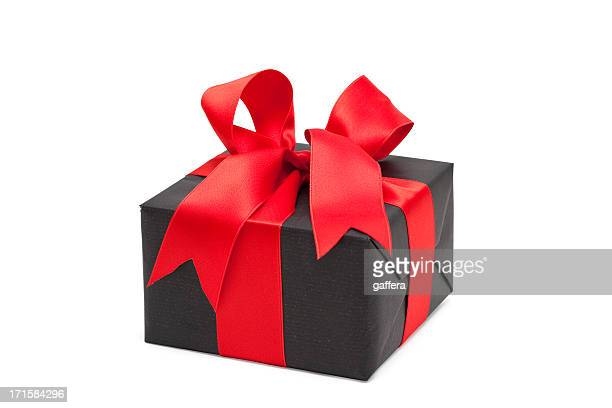 black gift box with red bow (clipping path)