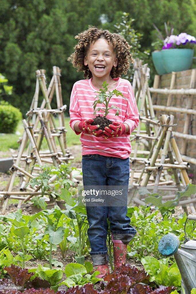 Black girl gardening
