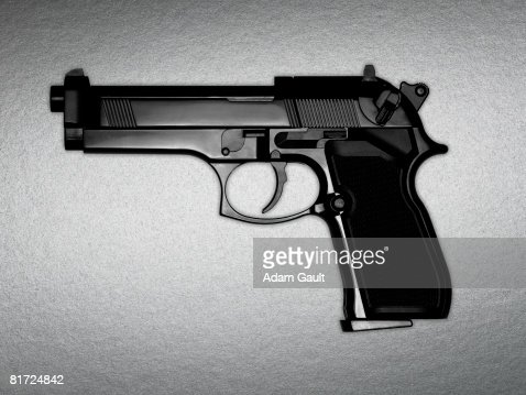A black gun : Stock Photo