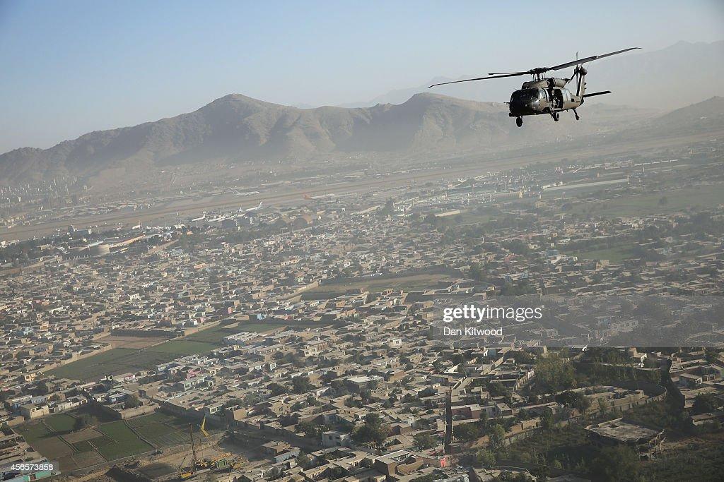 Black Hawk over Kabul as Britain's Prime Minister David Cameron visits Afghanistan on October 3 2014 in Kabul Afghanistan David Cameron is the first...