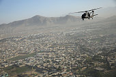 Black Hawk over Kabul as Britain's Prime Minister David Cameron visits Afghanistan on October 3 2014 in Kabul Afghanistan David Cameron is the first...