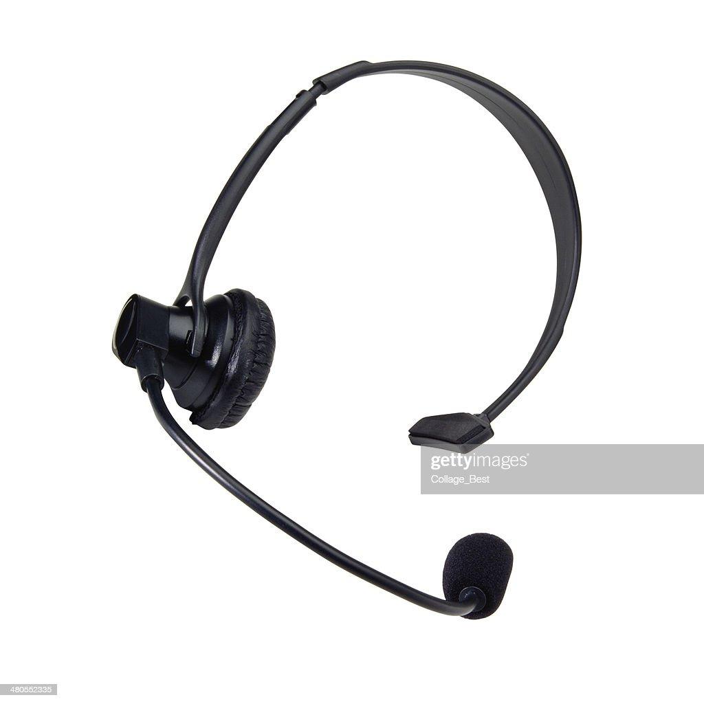 Black headphone with microphone : Stock Photo