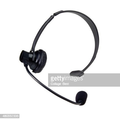 Black headphone with microphone : Stock Photo