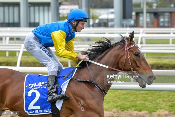 Black Heart Bart ridden by Brad Rawiller before the Hyland Race Colours Underwood Stakes at Caulfield Racecourse on October 01 2017 in Caulfield...