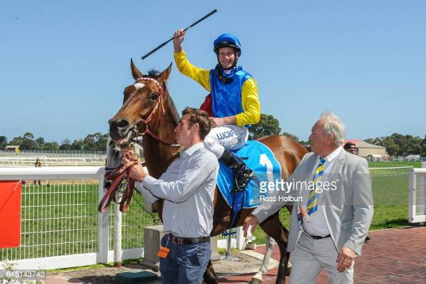 Black Heart Bart ridden by Brad Rawiller returns after winning the italktravel Futurity Stakes at Caulfield Racecourse on February 25 2017 in...