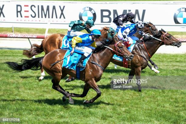 Black Heart Bart ridden by Brad Rawiller wins the italktravel Futurity Stakes at Caulfield Racecourse on February 25 2017 in Caulfield Australia