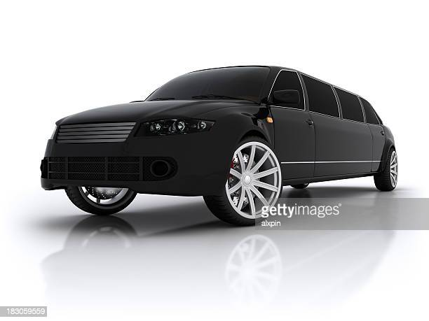 Black high end stretch limousine