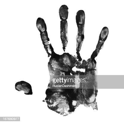 Black ink left handprint. : Stock Photo