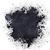 Black ink square with splashes. Space for your own text. Raster illustration
