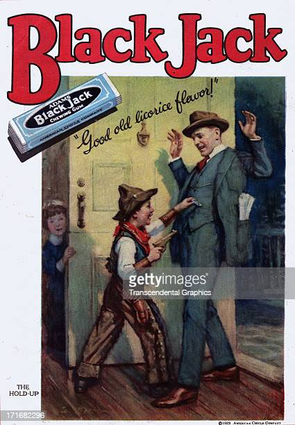 Black Jack chewing gum uses a comical robbery scene in a magazine ad published in 1924 in Trenton New Jersey