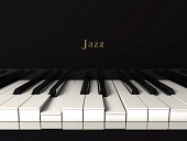 3d render of a black jazz piano. Front view