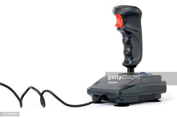 Black joystick on white background