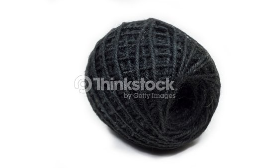 Black Jute String Hemp Rope Isolated On White Background