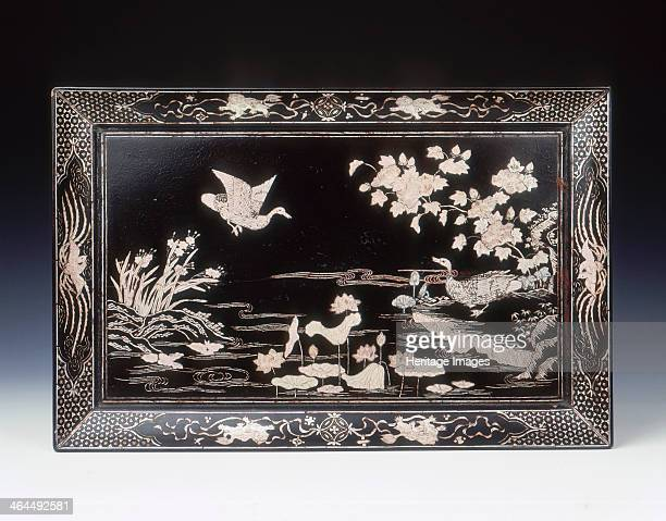 Black lacquer tray with motherofpearl inlay of ducks by lotus pond Ming dynasty China 2nd half of 16th century A rectangular black lacquer tray...