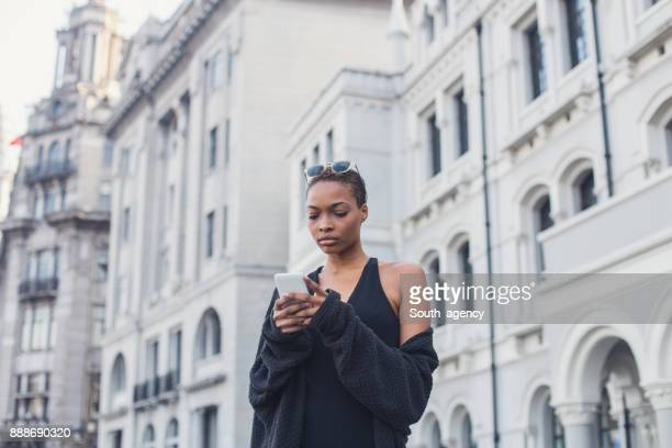 Black lady in city