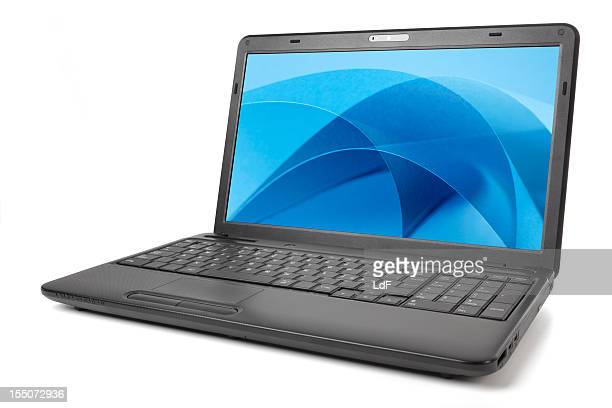 Black laptop isolated on white with blue screensaver