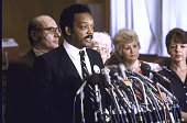 Black Leader Rev Jesse L Jackson at podium with two sisters of hostage Rev Lawrence M Jenco Sue Franceschini and Meg Mihelich and sister of hostage...