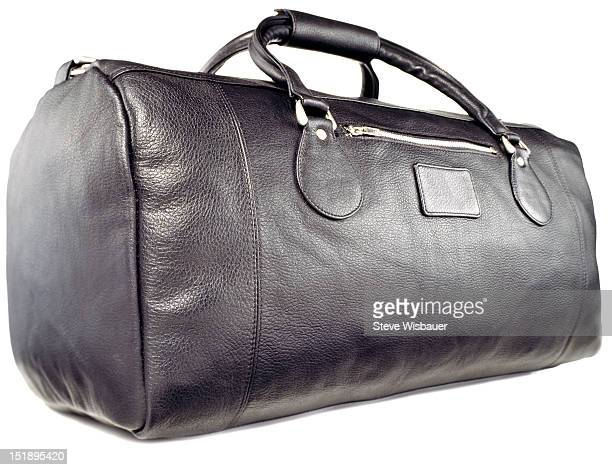 A black leather athletic sports bag